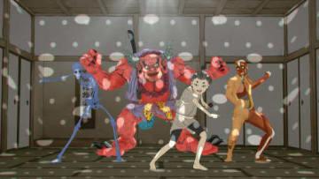 ダンス編の一場面。平太郎(右から2人目)たちがミッドナイターズのキャラとダンスしている