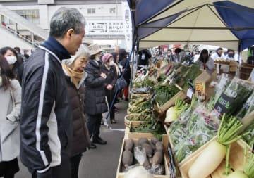 豊洲市場で始まったイベントで、野菜を見る人たち=12日午前、東京都江東区