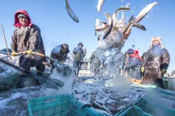 冬の漁に励む漁民たち 内モンゴル自治区