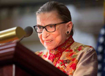 WASHINGTON, DC - MARCH 18: U.S. Supreme Court Justice Ruth Bader Ginsburg speaks at an annual Women's History Month reception hosted by Pelosi in the U.S. capitol building on Capitol Hill in Washington, D.C. This year's event honored the women...