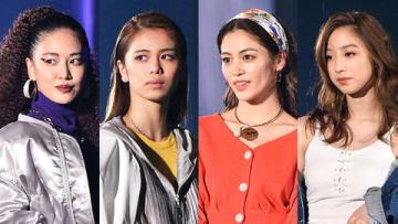 大型ファッションイベント「SDGs推進 TGC しずおか 2019 by TOKYO GIRLS COLLECTION」に登場したE-girlsの(左から)藤井夏恋さん、佐藤晴美さん、楓さん、坂東希さん