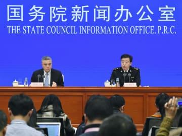 中国税関総署の記者会見=14日、北京(共同)