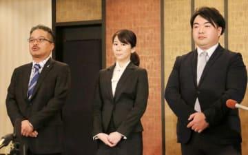 会見を行った(左から)「AKS」の松村匠・運営責任者兼取締役、早川麻衣子・劇場新支配人、岡田剛・新副支配人