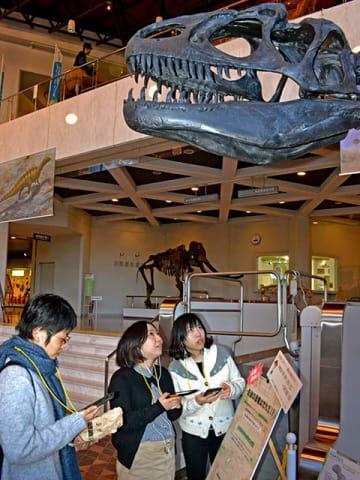 音声ガイドを聞きながらアロサウルスの骨格標本に見入る来館者ら=関市小屋名、県博物館