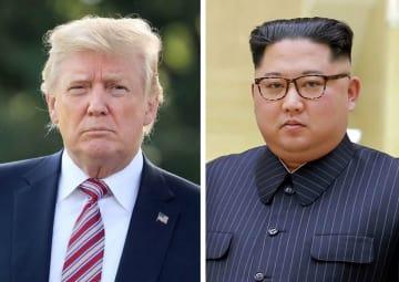 トランプ米大統領(ゲッティ=共同)、北朝鮮の金正恩朝鮮労働党委員長(朝鮮通信=共同)