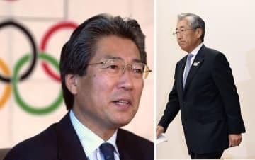 2001年JOC新会長として五輪マークを背に抱負を語る竹田恒和氏(左) 2019年1月15日会見に臨む竹田氏(右)