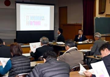 千代田庁舎の利活用についての計画案を説明する神埼市庁舎整備課の職員=10日午後、神埼市脊振町の脊振公民館
