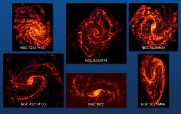 PHANGS-ALMA計画で撮影された6つの渦巻銀河。星の材料となるガスが放つ電波をとらえており、渦巻状に広がるガス雲のようすが詳細に描き出されている。(C)ALMA (ESO/NAOJ/NRAO); NRAO/AUI/NSF, B. Saxton