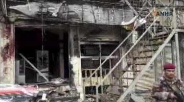 シリア北部マンビジュで、爆発により損壊したレストラン=16日(ANHA提供、AP=共同)