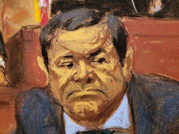 15日、米ニューヨークの連邦地裁に出廷したホアキン・グスマン被告のイラスト(ロイター=共同)