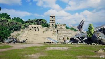 古代文明と大自然に覆われた未開の地。遠くには「BLEACH」で激闘の舞台となった真世界城が融合したステージが見える。