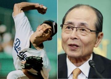 左は米大リーグで日本選手として初めて新人王に選ばれた野茂英雄投手=1995年9月、ロサンゼルス(共同) 右は会見するソフトバンクの王貞治球団会長=2019年1月18日