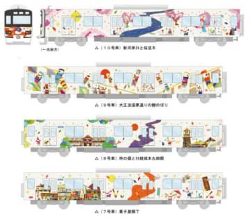 「池袋・川越アートトレイン」のイメージ(画像:東武鉄道の発表資料より)