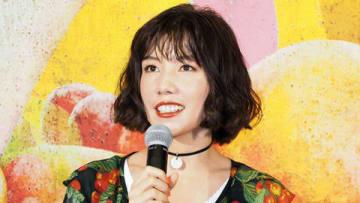 連続ドラマ「ドラマ24『フルーツ宅配便』」の記者会見に登場した仲里依紗さん