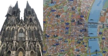 (左)ケルン大聖堂、(右)ケルン中心部の地図、ライン川の西岸にケルン大聖堂など観光名所が多数ある