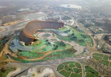 開幕まで100日 空から見た北京国際園芸博会場