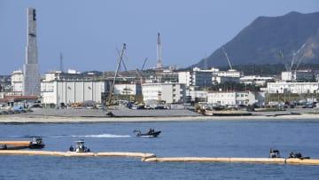埋め立て工事が進む沖縄県名護市の辺野古沿岸部=15日