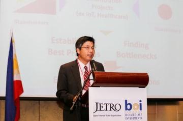 ジェトロマニラの石原氏は、日本技術のASEAN導入事例が増えることに期待を示した=21日、首都圏マカティ市(NNA撮影)