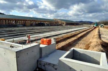 ファロスファームが建設を進めている肥育農場(安芸高田市高宮町)