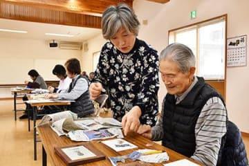 意外性が魅力、新聞アート 山辺・三浦さんのちぎり絵教室