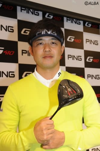 PINGゴルフの新作発表会で豪打を披露した額賀辰徳(撮影:鈴木健夫)