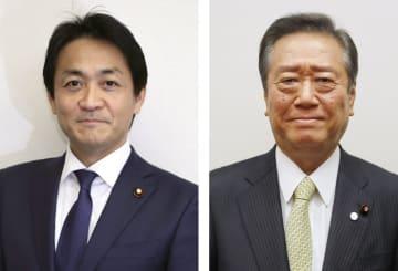 国民民主党の玉木雄一郎代表、自由党の小沢一郎共同代表
