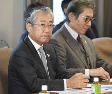 1週間前、わずか7分間の「記者会見」で批判された竹田恒和JOC会長=2019年1月22日、JOC理事会