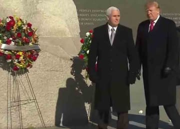 Trump visits Martin Luther King memorial for 2 minutes