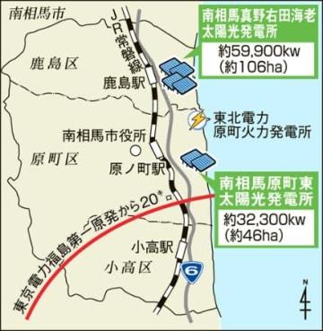 メガソーラー群完成 23日「原町東発電所」竣工式 南相馬