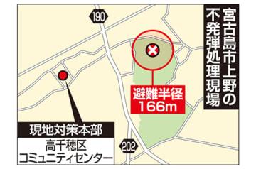 宮古島市上野で今夜不発弾処理 午後9時から、交通規制も
