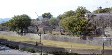 長塀が撤去された石垣(中央)。南側の写真手前は坪井川=熊本市役所から撮影
