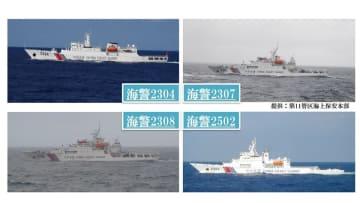 <尖閣情勢>1月23日、中国海警4隻が接続水域に入域