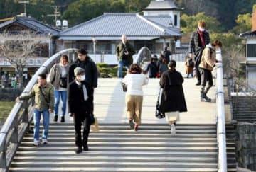 西日本豪雨などの影響で2018年の観光客が大幅に減った錦帯橋