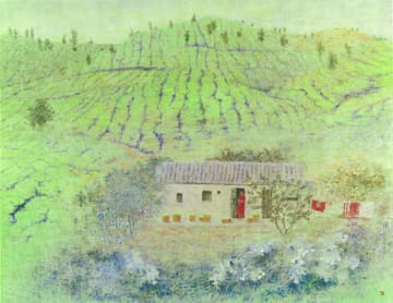 倉島重友「茶畑の家」(195・4×240・4センチ)=福屋八丁堀本店