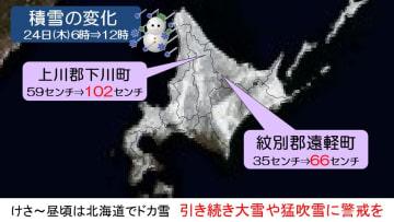 北日本で大荒れ ドカ雪や暴風も