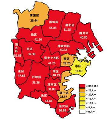 インフルエンザの区別流行状況2019年第2週(数字は定点あたり報告数)