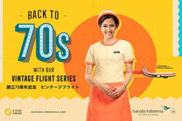 当日はガルーダ航空の乗務員が1970年代の制服を着用して乗務にあたる(同社提供)