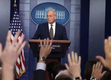 WASHINGTON, DC - OCTOBER 12: White House Chief of Staff John Kelly pauses during a daily news briefing at the James Brady Press Briefing Room of the White House October 12, 2017 in Washington, DC. In a rare appearance at the news briefing Kelly...