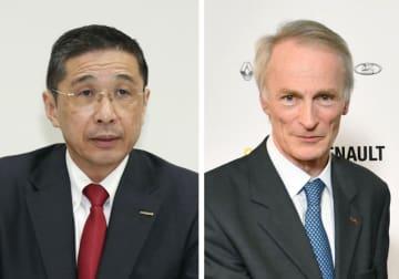 左から日産自動車の西川広人社長、ジャンドミニク・スナール氏