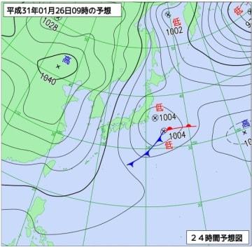 1月26日午前9時の予想天気図(気象庁ホームページより)
