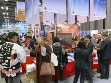 米ニューヨークの旅行博覧会「ニューヨーク・タイムズ・トラベル・ショー」に出展した日本の団体=25日(共同)