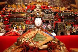 小野藩家老家が所蔵していた内裏びな(手前)など550体が並ぶ=小野市立好古館