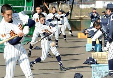 打撃練習に励む熊本西の選手たち=同校グラウンド