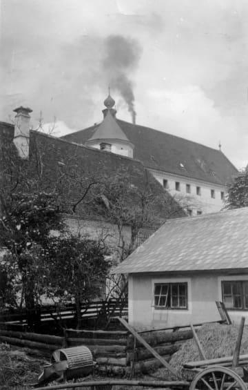 T4作戦で障害者殺害に使用された施設。煙突から遺体を焼却する際の煙が上がっている(ドイツ精神医学精神療法神経学会提供)