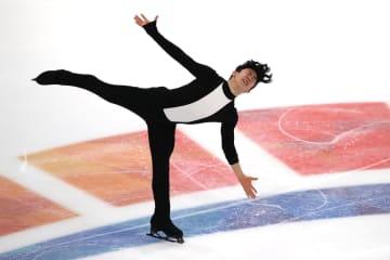 フィギュアスケートの全米選手権、男子ショートプログラム首位に立ったネーサン・チェン=26日、デトロイト(ゲッティ=共同)