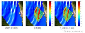 レーダーによる津波多波面検出例(写真:三菱電機の発表資料より)