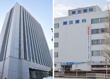 三重県四日市市の三重銀行本店(左)、三重県松阪市の第三銀行本店(右)