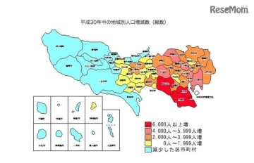 平成30年(2018年)中の地域別人口増減数(総数)