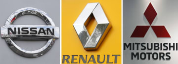 左から日産自動車、ルノー、三菱自動車のロゴ