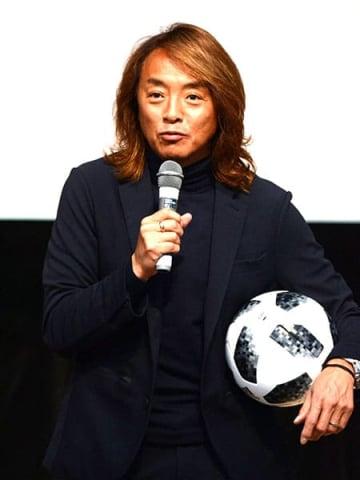 障害者サッカーに触れ、共生社会の実現について語る北澤豪さん=久喜市の菖蒲文化会館